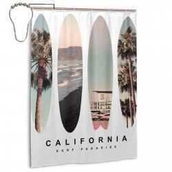 California Beach Shower Curtain , Shower Bathroom Curtain 55x72 Inch Waterproof Fabric with Hooks , Wildly used in bathroom and hotel etc.