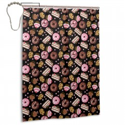 Cake Doughnut Black Shower Curtain , Shower Bathroom Curtain 55x72 Inch Waterproof Fabric with Hooks , Wildly used in bathroom and hotel etc.