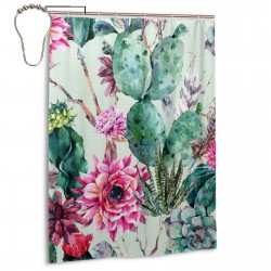 Cactus Shower Curtain , Shower Bathroom Curtain 55x72 Inch Waterproof Fabric with Hooks , Wildly used in bathroom and hotel etc.