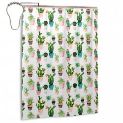 Cactus White Shower Curtain , Shower Bathroom Curtain 55x72 Inch Waterproof Fabric with Hooks , Wildly used in bathroom and hotel etc.