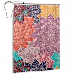 Colorful Flower Shower Curtain , Shower Bathroom Curtain 55x72 Inch Waterproof Fabric with Hooks , Wildly used in bathroom and hotel etc.
