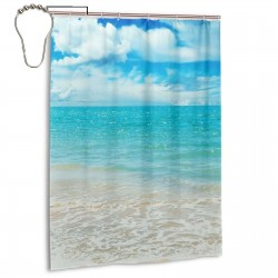 Blue Sky And Sea Shower Curtain , Shower Bathroom Curtain 55x72 Inch Waterproof Fabric with Hooks , Wildly used in bathroom and hotel etc.