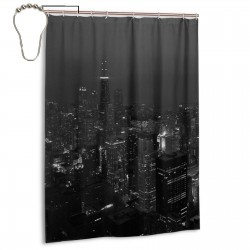 Black And White City Night Shower Curtain , Shower Bathroom Curtain 55x72 Inch Waterproof Fabric with Hooks , Wildly used in bathroom and hotel etc.