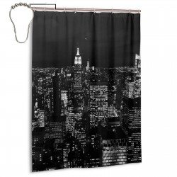 Black And White New York Night Sky Shower Curtain , Shower Bathroom Curtain 55x72 Inch Waterproof Fabric with Hooks , Wildly used in bathroom and hotel etc.