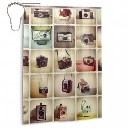 Vintage Cameras Shower Curtain , Shower Bathroom Curtain 55x72 Inch Waterproof Fabric with Hooks , Wildly used in bathroom and hotel etc.