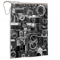 Vintage Camera Montage Shower Curtain , Shower Bathroom Curtain 55x72 Inch Waterproof Fabric with Hooks , Wildly used in bathroom and hotel etc.