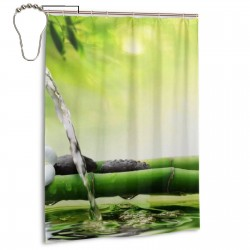 Spa Stones In Garden With Flow Water Shower Curtain , Shower Bathroom Curtain 55x72 Inch Waterproof Fabric with Hooks , Wildly used in bathroom and hotel etc.