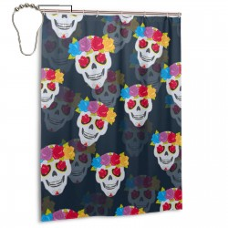 Human Skull And Flower Shower Curtain , Shower Bathroom Curtain 55x72 Inch Waterproof Fabric with Hooks , Wildly used in bathroom and hotel etc.
