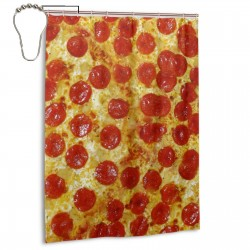 Delicious Pizza Shower Curtain , Shower Bathroom Curtain 55x72 Inch Waterproof Fabric with Hooks , Wildly used in bathroom and hotel etc.