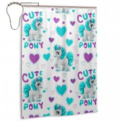 Cute Cartoon Horse Shower Curtain , Shower Bathroom Curtain 55x72 Inch Waterproof Fabric with Hooks , Wildly used in bathroom and hotel etc.