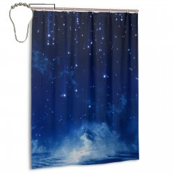 Crescent Moon With Falling Stars Shower Curtain , Shower Bathroom Curtain 55x72 Inch Waterproof Fabric with Hooks , Wildly used in bathroom and hotel etc.
