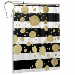 Bigjpg_16x_art_highest_Gold Paint Dots Splatter On Black And White Shower Curtain , Shower Bathroom Curtain 55x72 Inch Waterproof Fabric with Hooks , Wildly used in bathroom and hotel etc.