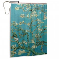Almond Blossom Design Shower Curtain , Shower Bathroom Curtain 55x72 Inch Waterproof Fabric with Hooks , Wildly used in bathroom and hotel etc.