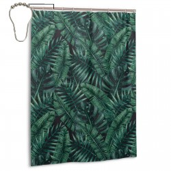 Watercolor Tropical Jungle Leaves Pattern Shower Curtain , Shower Bathroom Curtain 55x72 Inch Waterproof Fabric with Hooks , Wildly used in bathroom and hotel etc.