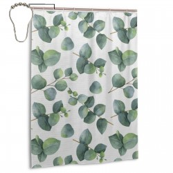 Watercolor Leaves And Branches Style Shower Curtain , Shower Bathroom Curtain 55x72 Inch Waterproof Fabric with Hooks , Wildly used in bathroom and hotel etc.