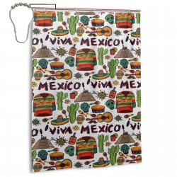 Viva Mexico Shower Curtain , Shower Bathroom Curtain 55x72 Inch Waterproof Fabric with Hooks , Wildly used in bathroom and hotel etc.