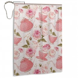 Vintage Style Tea Cups Shower Curtain , Shower Bathroom Curtain 55x72 Inch Waterproof Fabric with Hooks , Wildly used in bathroom and hotel etc.