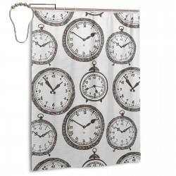 Vintage Pocket Watch Shower Curtain , Shower Bathroom Curtain 55x72 Inch Waterproof Fabric with Hooks , Wildly used in bathroom and hotel etc.