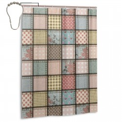 Vintage Patchwork Style Shower Curtain , Shower Bathroom Curtain 55x72 Inch Waterproof Fabric with Hooks , Wildly used in bathroom and hotel etc.