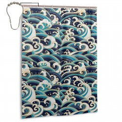 Traditional Oriental Style Ocean Waves Pattern Shower Curtain , Shower Bathroom Curtain 55x72 Inch Waterproof Fabric with Hooks , Wildly used in bathroom and hotel etc.