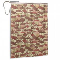 Town Houses Pattern Shower Curtain , Shower Bathroom Curtain 55x72 Inch Waterproof Fabric with Hooks , Wildly used in bathroom and hotel etc.