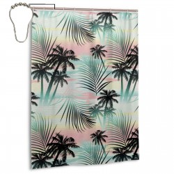 Summer Season Palm Trees Shower Curtain , Shower Bathroom Curtain 55x72 Inch Waterproof Fabric with Hooks , Wildly used in bathroom and hotel etc.