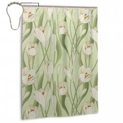Spring Flowers 1 Shower Curtain , Shower Bathroom Curtain 55x72 Inch Waterproof Fabric with Hooks , Wildly used in bathroom and hotel etc.