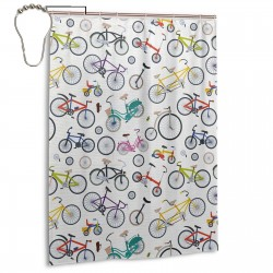 Retro Style Colorful Bicycles Shower Curtain , Shower Bathroom Curtain 55x72 Inch Waterproof Fabric with Hooks , Wildly used in bathroom and hotel etc.