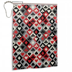 Playings Cards Clubs Shower Curtain , Shower Bathroom Curtain 55x72 Inch Waterproof Fabric with Hooks , Wildly used in bathroom and hotel etc.