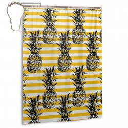 Pineapple Vintage Hippie Graphic Shower Curtain , Shower Bathroom Curtain 55x72 Inch Waterproof Fabric with Hooks , Wildly used in bathroom and hotel etc.