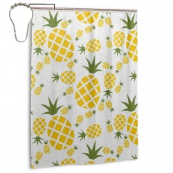 Pineapple In Pictogram Design Shower Curtain , Shower Bathroom Curtain 55x72 Inch Waterproof Fabric with Hooks , Wildly used in bathroom and hotel etc.
