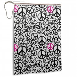 Peace Signs Popular Sixties Shower Curtain , Shower Bathroom Curtain 55x72 Inch Waterproof Fabric with Hooks , Wildly used in bathroom and hotel etc.