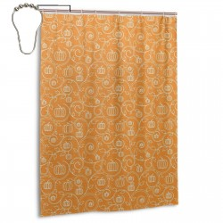 Pattern With Pumpkin Shower Curtain , Shower Bathroom Curtain 55x72 Inch Waterproof Fabric with Hooks , Wildly used in bathroom and hotel etc.