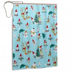 Christmas Little Gnomes Snow Shower Curtain , Shower Bathroom Curtain 55x72 Inch Waterproof Fabric with Hooks , Wildly used in bathroom and hotel etc.
