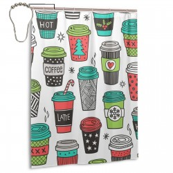 Christmas Holidays Coffee Shower Curtain , Shower Bathroom Curtain 55x72 Inch Waterproof Fabric with Hooks , Wildly used in bathroom and hotel etc.