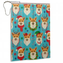 Christmas Corgis Pattern Shower Curtain , Shower Bathroom Curtain 55x72 Inch Waterproof Fabric with Hooks , Wildly used in bathroom and hotel etc.
