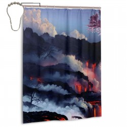 Cherry Tree Volcano Nature Shower Curtain , Shower Bathroom Curtain 55x72 Inch Waterproof Fabric with Hooks , Wildly used in bathroom and hotel etc.