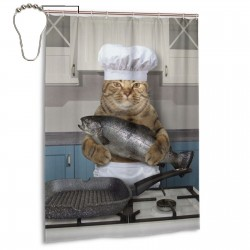 Chef Cat Shower Curtain , Shower Bathroom Curtain 55x72 Inch Waterproof Fabric with Hooks , Wildly used in bathroom and hotel etc.