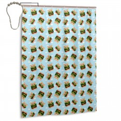 Cheeseburger Cats Shower Curtain , Shower Bathroom Curtain 55x72 Inch Waterproof Fabric with Hooks , Wildly used in bathroom and hotel etc.