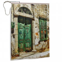Charming Old Streets Of Greek Islands Pattern Shower Curtain , Shower Bathroom Curtain 55x72 Inch Waterproof Fabric with Hooks , Wildly used in bathroom and hotel etc.
