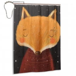 Character Winter Fox Shower Curtain , Shower Bathroom Curtain 55x72 Inch Waterproof Fabric with Hooks , Wildly used in bathroom and hotel etc.
