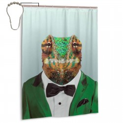 Chameleon Sir Shower Curtain , Shower Bathroom Curtain 55x72 Inch Waterproof Fabric with Hooks , Wildly used in bathroom and hotel etc.