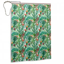 Chameleon And Cactus Shower Curtain , Shower Bathroom Curtain 55x72 Inch Waterproof Fabric with Hooks , Wildly used in bathroom and hotel etc.