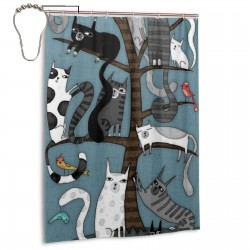 Cat-tree-by-terry-runyan Shower Curtain , Shower Bathroom Curtain 55x72 Inch Waterproof Fabric with Hooks , Wildly used in bathroom and hotel etc.