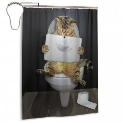 Cats On The Toilet Shower Curtain , Shower Bathroom Curtain 55x72 Inch Waterproof Fabric with Hooks , Wildly used in bathroom and hotel etc.