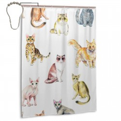 Cats Isolated On White Background Shower Curtain , Shower Bathroom Curtain 55x72 Inch Waterproof Fabric with Hooks , Wildly used in bathroom and hotel etc.