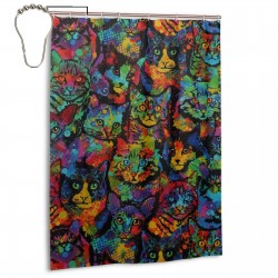 Cats Colorful Paint Splatter Animals Shower Curtain , Shower Bathroom Curtain 55x72 Inch Waterproof Fabric with Hooks , Wildly used in bathroom and hotel etc.