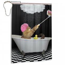 Cats Bathing In The Rain Shower Curtain , Shower Bathroom Curtain 55x72 Inch Waterproof Fabric with Hooks , Wildly used in bathroom and hotel etc.