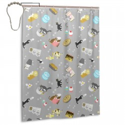 Cats Baking Cakes On Grey Shower Curtain , Shower Bathroom Curtain 55x72 Inch Waterproof Fabric with Hooks , Wildly used in bathroom and hotel etc.