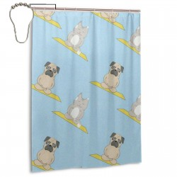 Cats And Dogs Meditation Yoga Pattern Shower Curtain , Shower Bathroom Curtain 55x72 Inch Waterproof Fabric with Hooks , Wildly used in bathroom and hotel etc.
